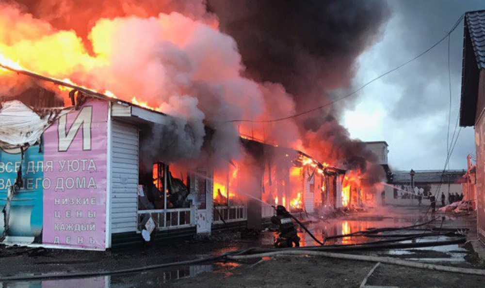 ВМинусинске полыхал масштабный пожар нарынке